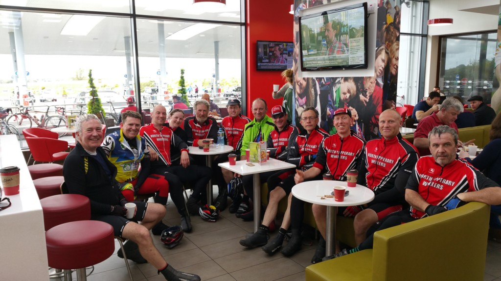 The lads(and lady!) enjoying the lovely coffee in the Obama Plaza, Moneygall.